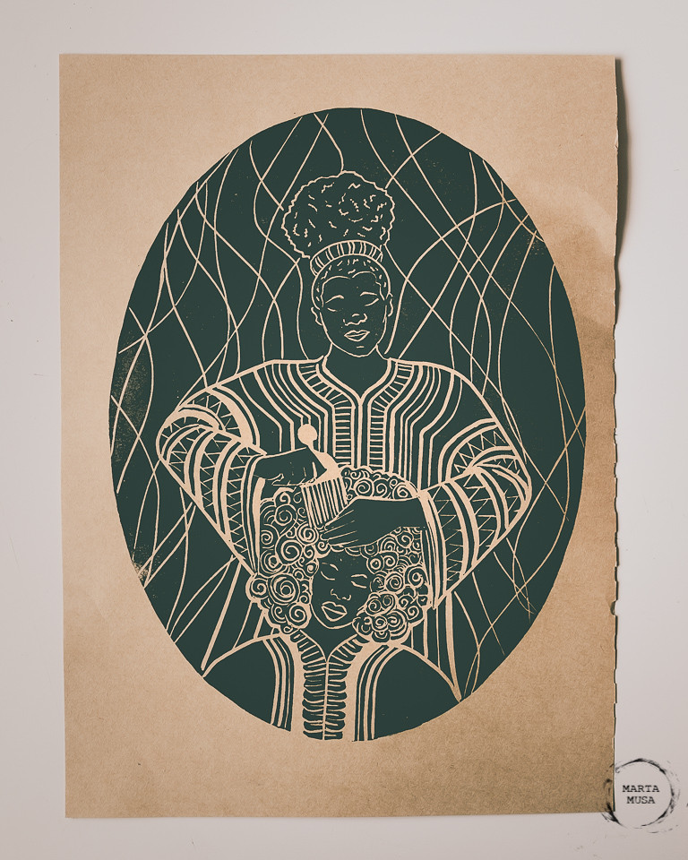 A photograph of a test print of a linoblock.  The block print is of a seated african/black woman having her hair combed by another African/Black woman. Printed in black ink on a brown butchers paper.
