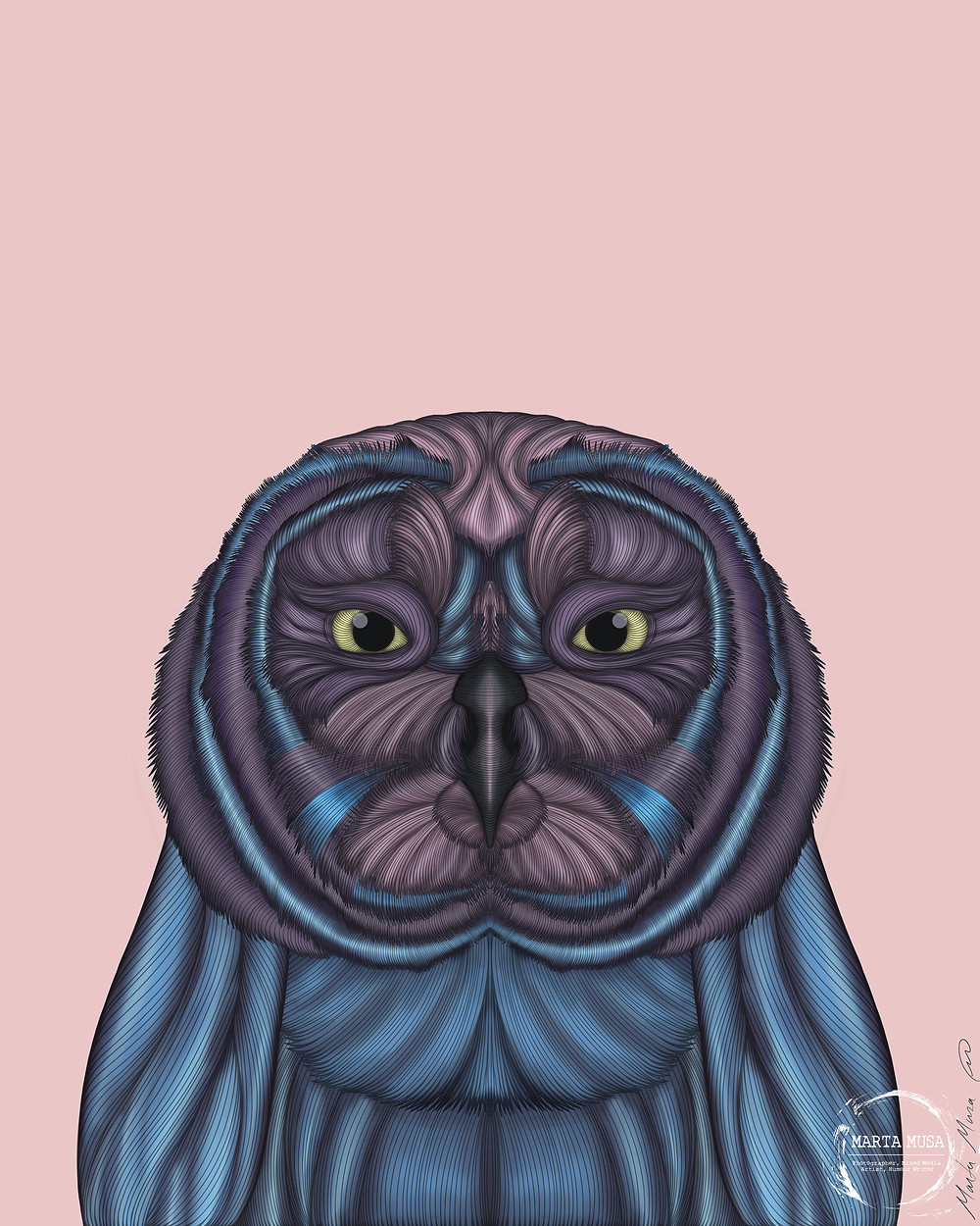 Contour line drawing of an owl.  His body is coloured in shades of blue and purple, his eyes are bright yellow.  The illustration is drawn on a light pink background.