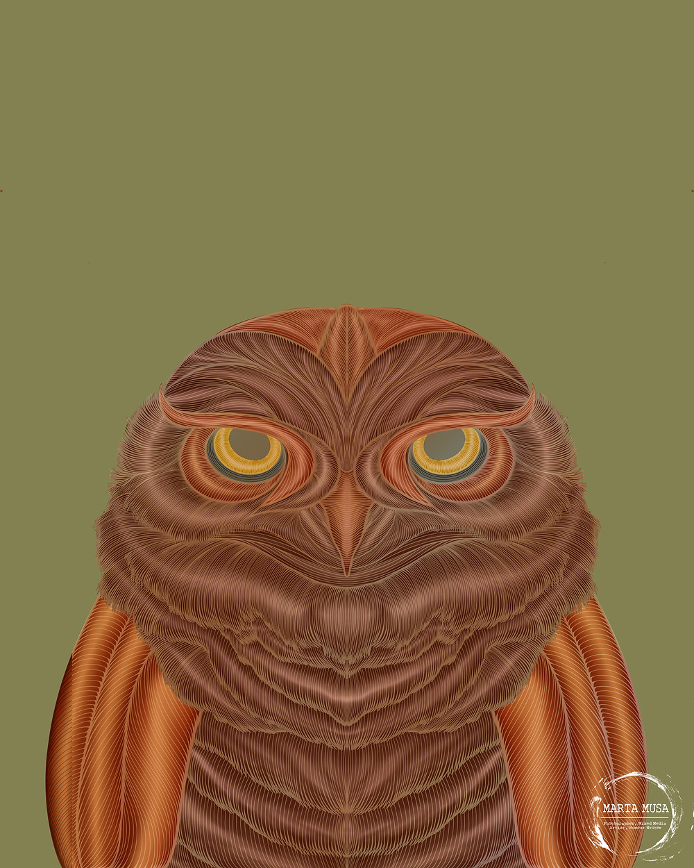 Contour line drawing of an owl.  The body is coloured in shades of brown and bronze.  The contour lines are in shades of gold.  The owl is drawn against an olive green background