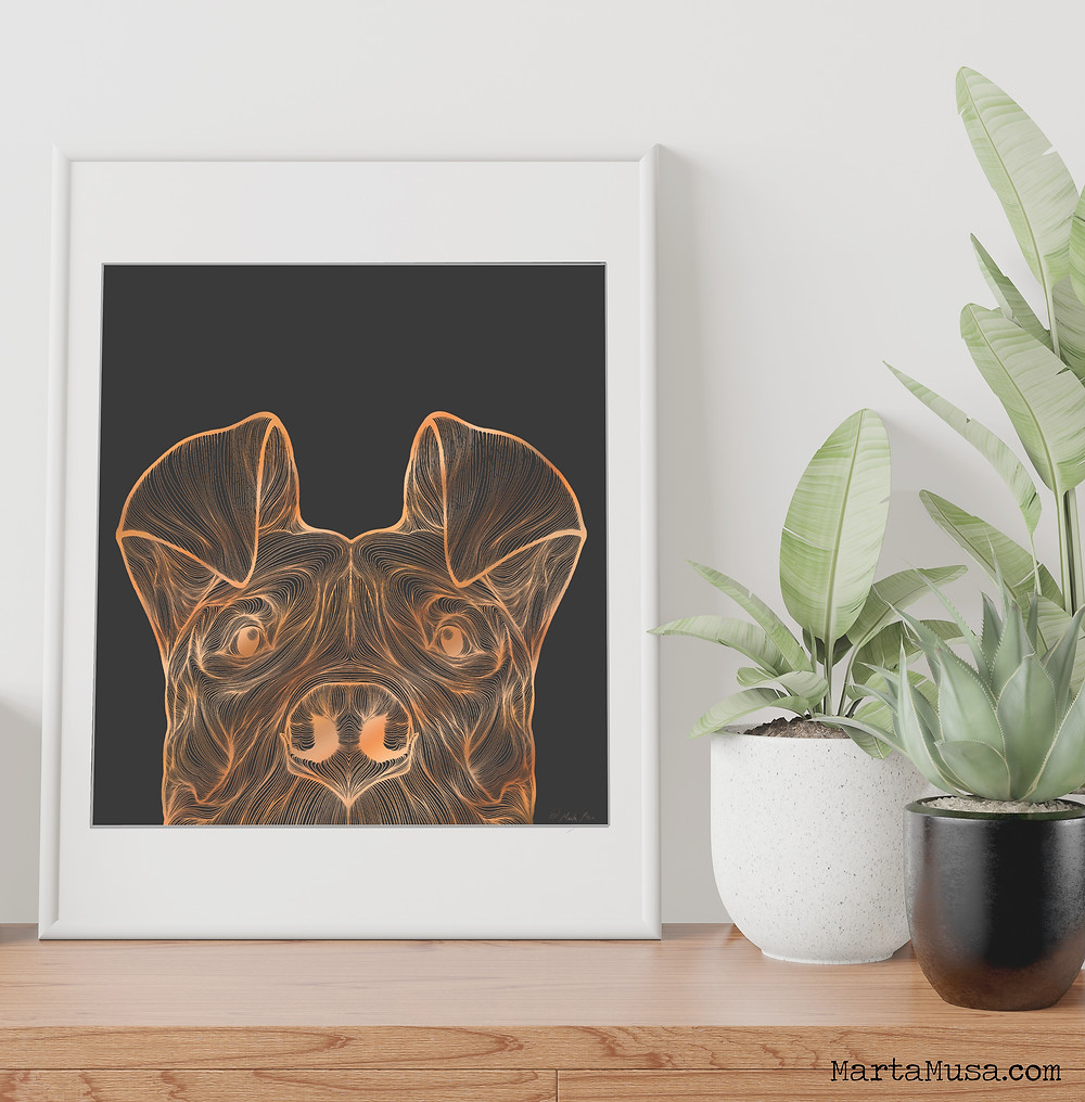 Contour drawing of a Pitbull dogs face in a large white Frame on a shelf with Plants