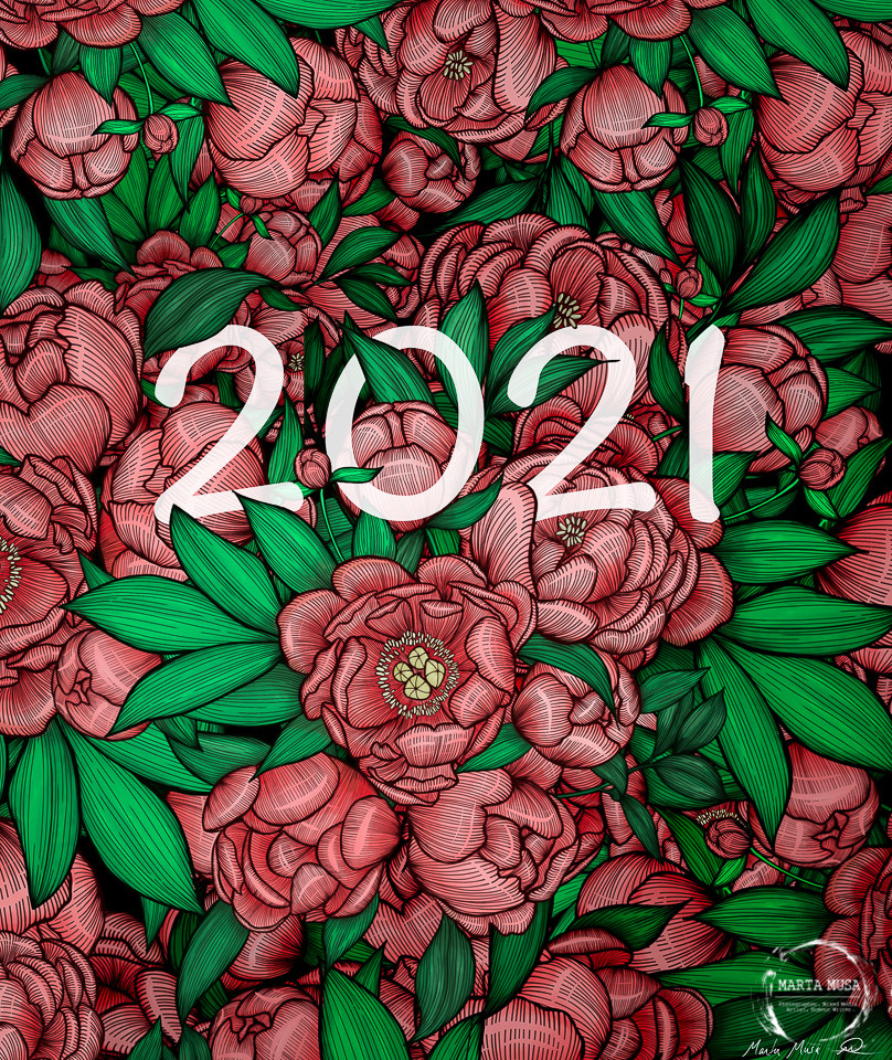 Line drawings of multiple red peonies and gree leaves overlapping and filling the page.  In the center of the page nestled in the peonies is the number 2021