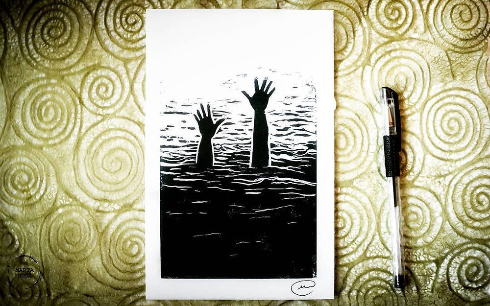 A Block Print of two hands with outstreached fingers reaching out of the sea