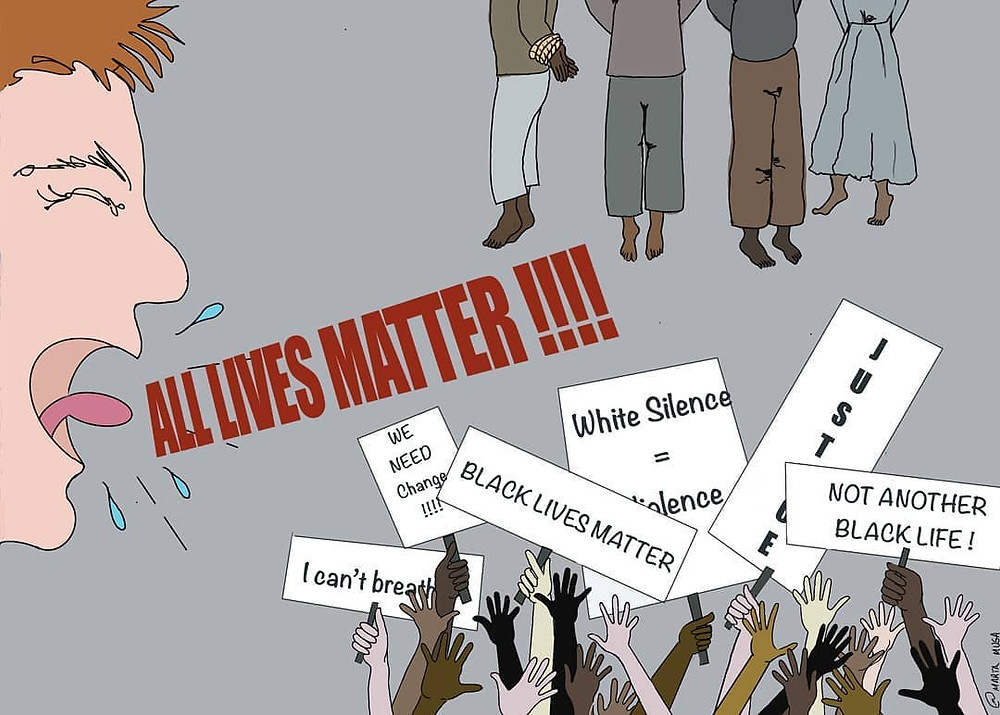"An illustration of a Caucasian man yelling ALL LIVES MATTER at a scene with multiple hands in different colours holding protest signs saying ""I can't breath"", ""black lives matter"" ""Justice"" and ""we need Change"".  These protestors are stood under the bodies of 3 Black men and 1 Black woman who have been hung / lynched"