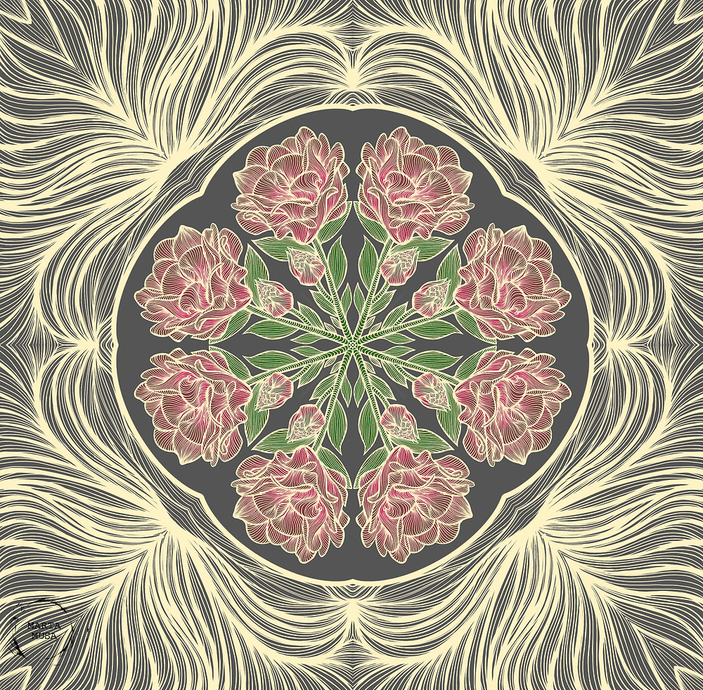A mandala with a ring of pinkish red Peonies at the center and a lace like pattern of fine yellow lacey linework around the ring of peonies. Illustration is drawn against a grey background