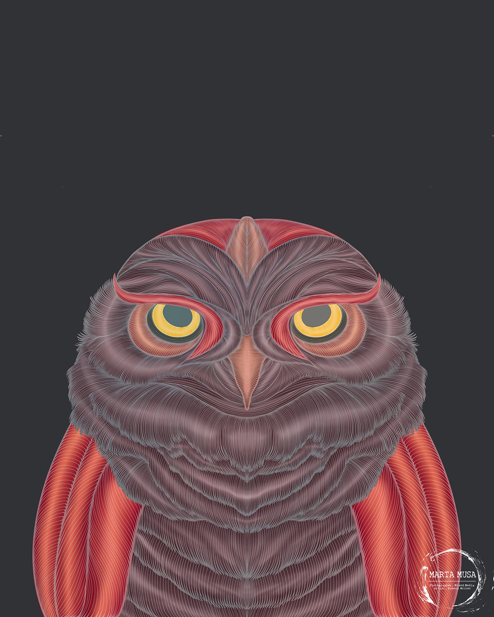 Contour line drawing of an owl.  The body is coloured in shades of purple and pink.  The contour lines are in shades of silver.  The owl is drawn against a dark blue background