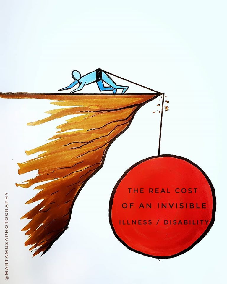 "An illustration of a person  with a large weight labeled ""The real cost of an invisible illness"" scrambling not to fall off the edge of a cliff clinging to the cliff edge"