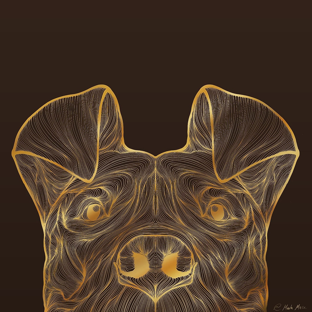 On a brown background is a Gold line drawing of the upper two thirds of a curious bully breed type dog peering at you.  His ears are both cocked forward and you can see the smile in his eyes and the suggestion of a happy panting dog in his loose relaxed jaws.