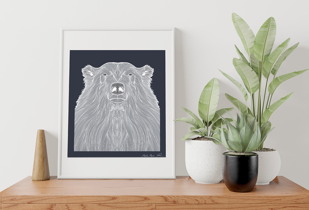Contour drawing of a Polar bear in a large white Frame on a shelf with Plants