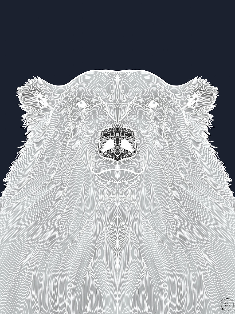 Contour line drawing of a polar bear against a dark blue background.  The contour lines are in a bright wihte against a body of light and dark grey.  The polar bears face and neck are included in the portrait