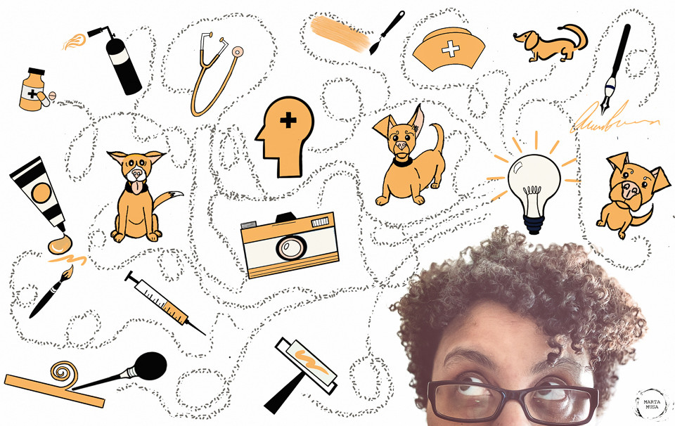 Picture of Black woman with short hair looking up at a mind map of various paths and icons.  The icons include various dogs, ink pen, paint brush, tube of paint, propane torch, palatte knife, camera, printmaking equipment, syringe, pills, sthetescope, nurses hat and a light bulb