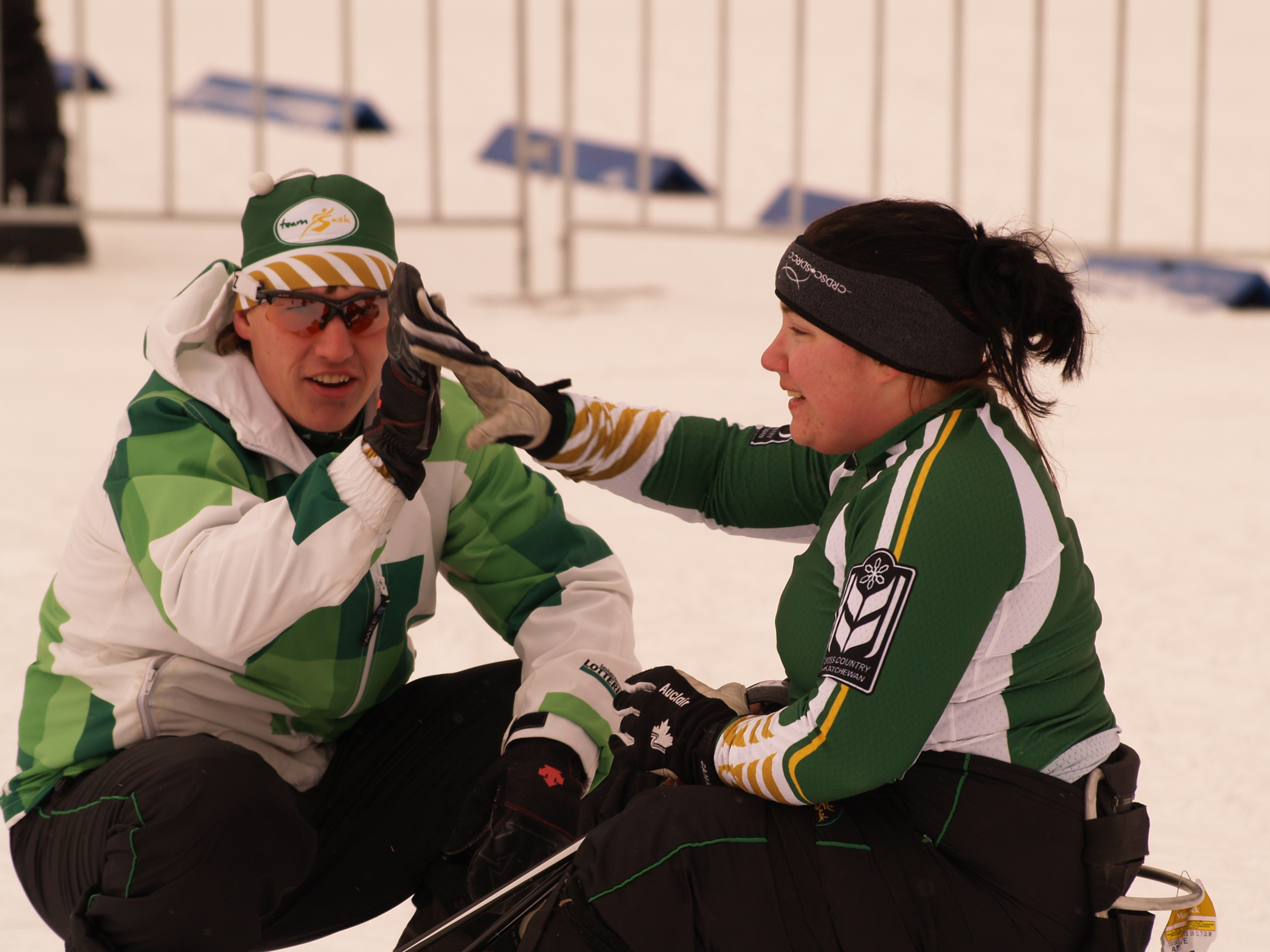 Kelsi_Paul_with_Nathan_Sedgewick_(coach)_silver_medal_sitski_sprint_2011_CWG_Martock_Nova_Scotia