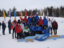 2011_CWG_Martock_Nova_Scotia_paranordic_athletes_and_guides_medal_cermony_Kelsi_Paul_silver_in_sitsk
