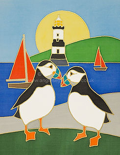 Kissing Puffins at Penmon silk painting
