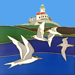 Terns at The Skerries silk painting by J