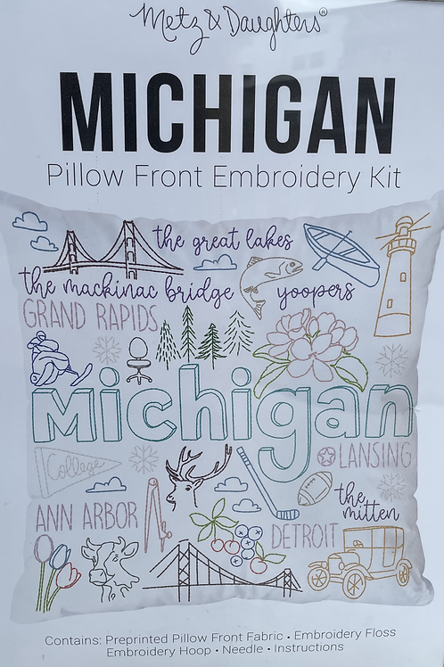 Michigan Pillow Front Embroidery Kit