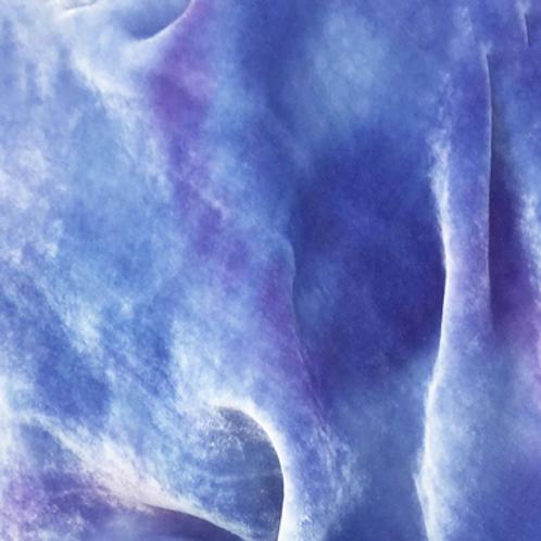 Blue Hand Dyed Silk Velvet