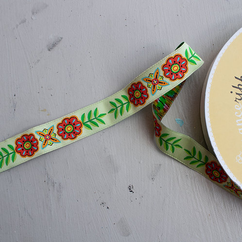 Hippie Button Flower and Stems Ribbon