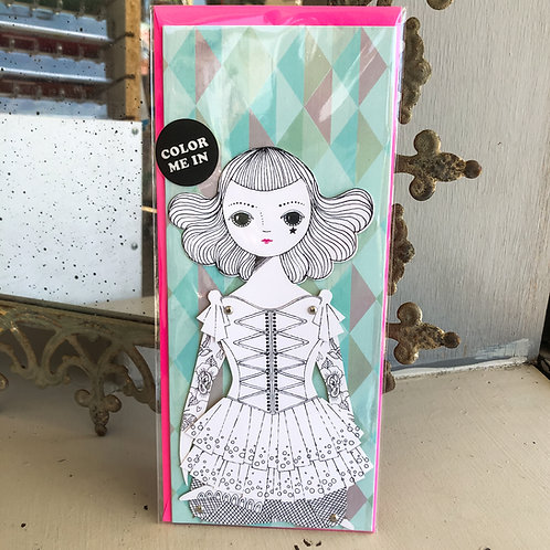 Amelia Coloring Paper Doll Card