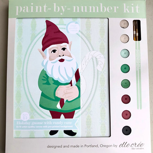 Holiday Gnome with Candy Cane Paint By Number