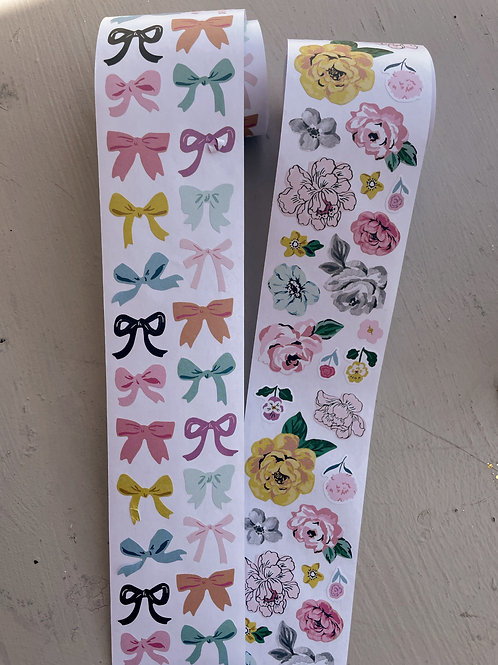 Garden Party Bows and Flowers Stickers Roll