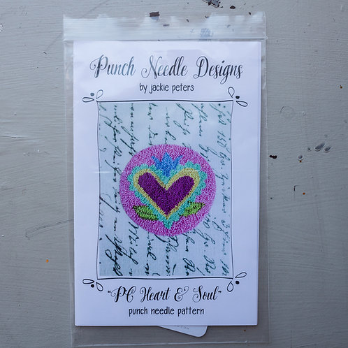 """Jackie Peters """"PC Heart & Soul""""Punch Needle Pattern or Kit"""