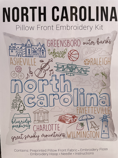 North Carolina Pillow Front Embroidery Kit