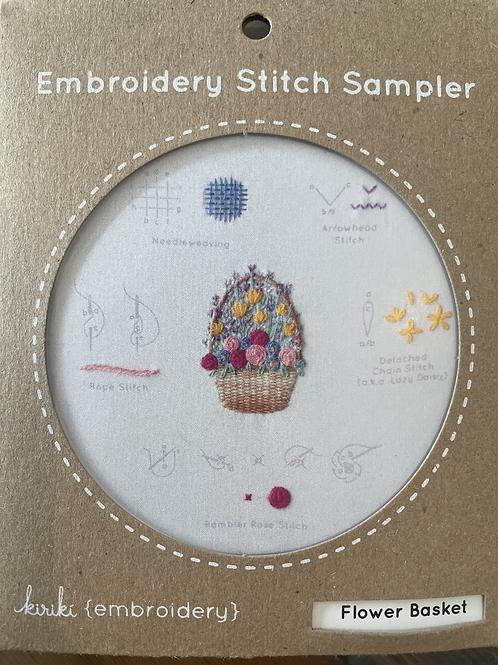 Flower Basket Embroidery Stitch Sampler