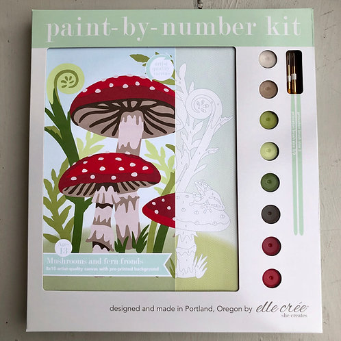 Mushrooms and Fern Fronds Paint By Number