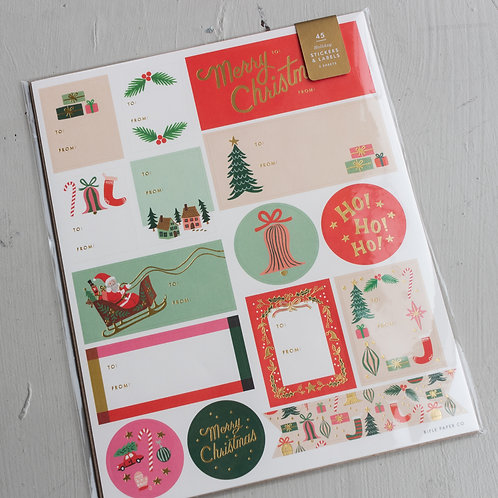 Holiday Deck the Halls Stickers & Labels