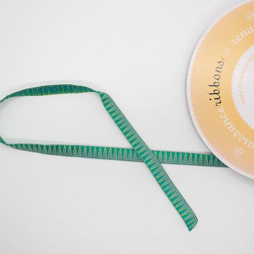 Aqua Stems on Green Ribbon