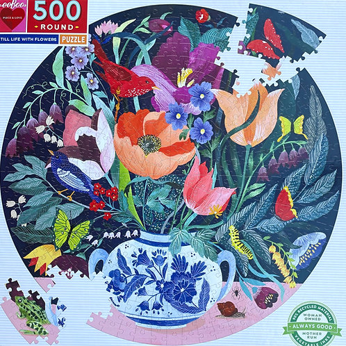 Still Life With Flowers Round Puzzle