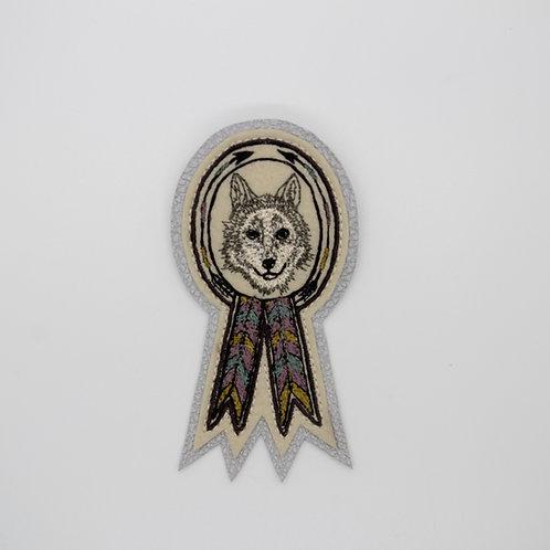 Coral & Tusk Wolf Badge Pin