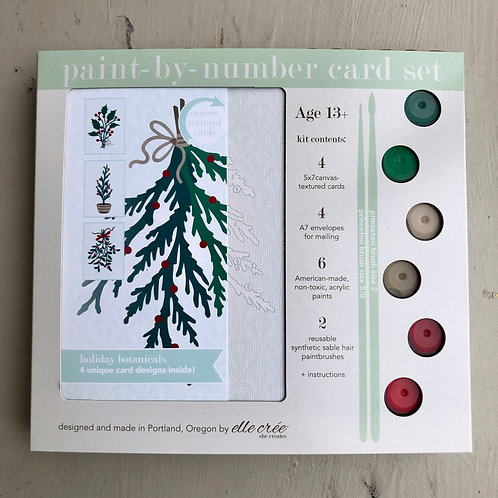 Traditional Holiday Botanicals Paint by Number Card Set