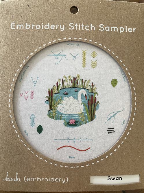 Swan Embroidery Stitch Sampler