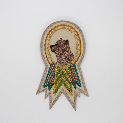 Coral & Tusk Bear Badge Pin