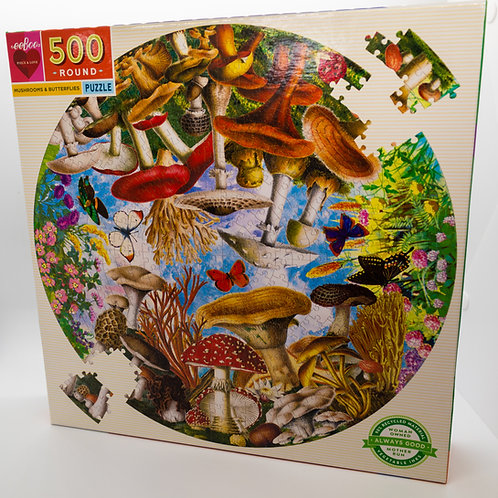 Mushrooms and Butterflies 500 Piece Puzzle