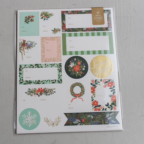 Holiday Winter Floral Stickers & Labels