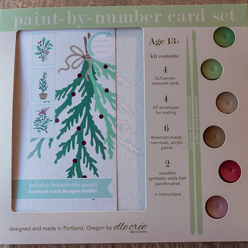Holiday Botanicals Paint By Number Card Set
