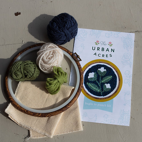 Urban Acres Blue Floral Hoop Begin to Punch Kit