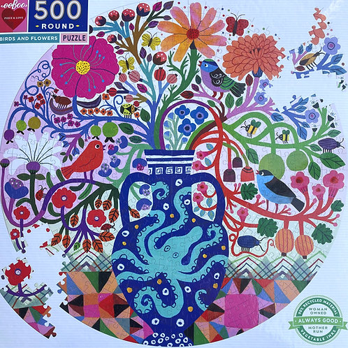 Birds and Flowers Round Puzzle