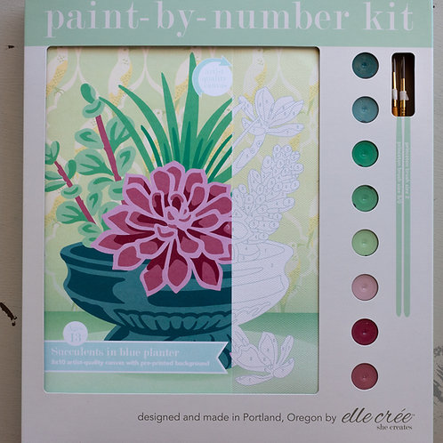 Succulents in Blue Planter Paint by Number