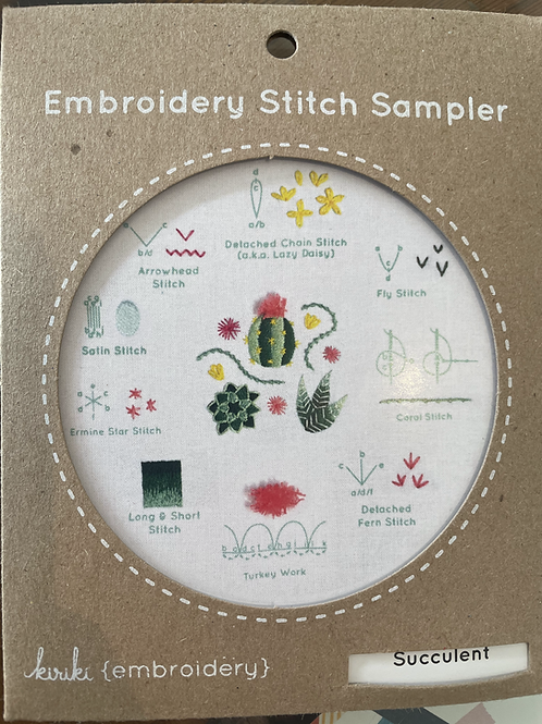Succulent Embroidery Stitch Sampler