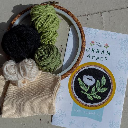 Urban Acres Black Floral Hoop Begin to Punch Kit
