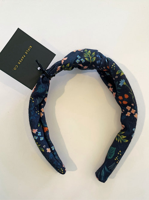 Navy Floral Headband with Top Knot