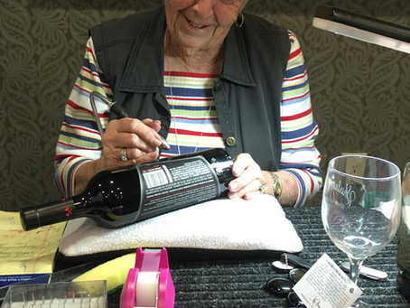 BEING 88 AND ENGRAVING WINE BOTTLES MAKES THIS CALIFORNIA GAL POPULAR AND VERY WELL-PAID!