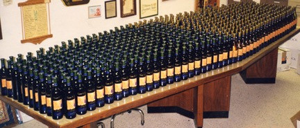 CALLIGRAPHY ON TWELVE HUNDRED BOTTLES MADE A GREAT TWO WEEKS TWENTY YEAR AGO.