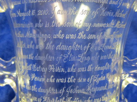 LEARN THE LAYOUT PROCESS FOR A LONG, HAND-ENGRAVED MESSAGE WITH A DENTAL DRILL ON A VASE.