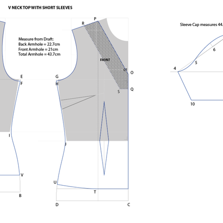 Drafting V-Neck Top (With Short Sleeves)