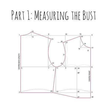 Drafting Bunka Style Missy Block - Measuring Bust