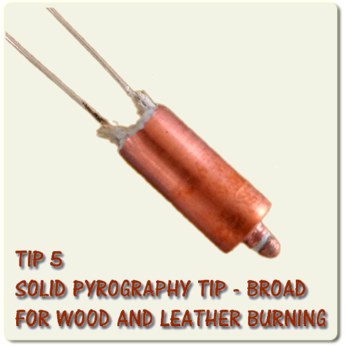 Solid Pyrography wood burning tip - Broad for shading and filling